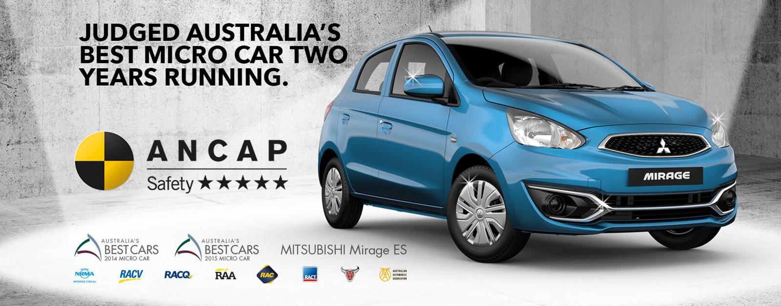 Mitsubishi Mirage, Australia's best micro car two years running. Test drive at Redcliffe Mitsubishi Brisbane.