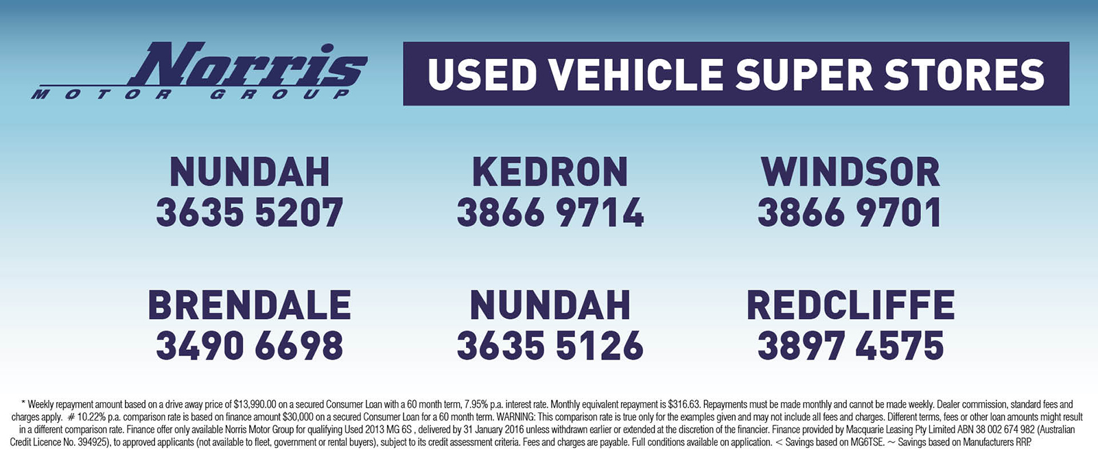 Visit any of Norris Motor Groups 6 used vehicle superstores across Brisbane today.