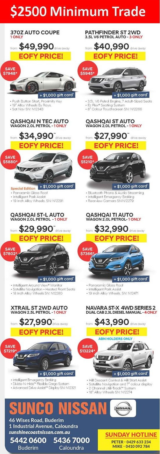 Sunshine Coast Nissan EOFY Offers