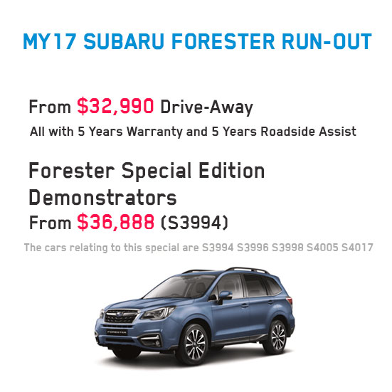 MY17 Subaru Forester Run-Out