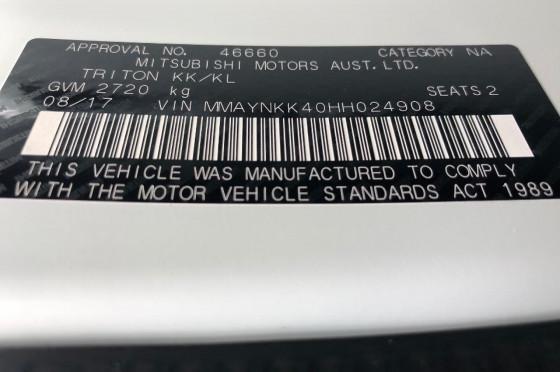 2017 Mitsubishi Triton MQ GLX Single Cab Chassis 2WD Cab chassis