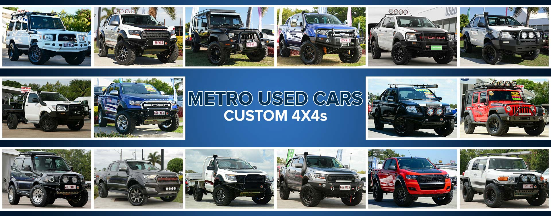 A collage of custom 4x4s from Metro Used Cars in Brisbane.
