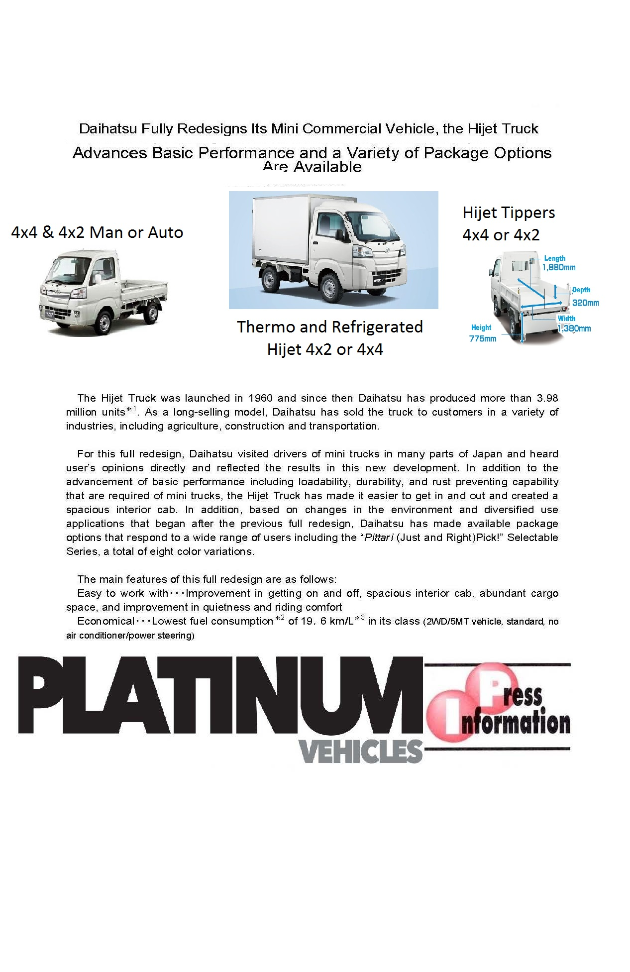 The Hijet 4x4 Tipper, Thermo, Ute, Refrigerated Truck
