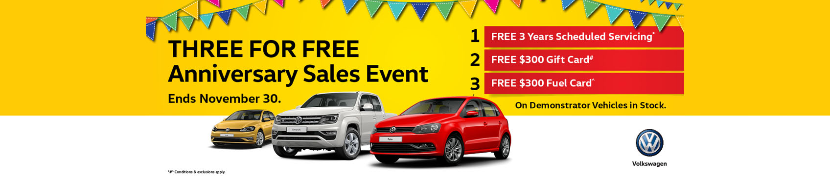 THREE FOR FREE Anniversary Sales Event