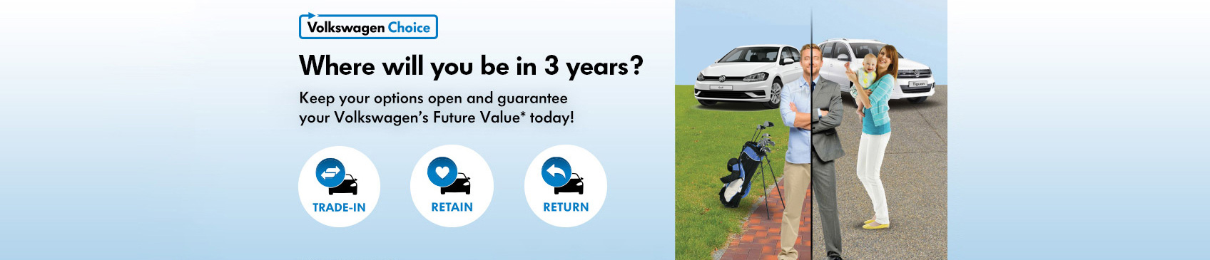 Volkswagen Choice. Keep your options open and guarantee your Volkswagen's Future Value.