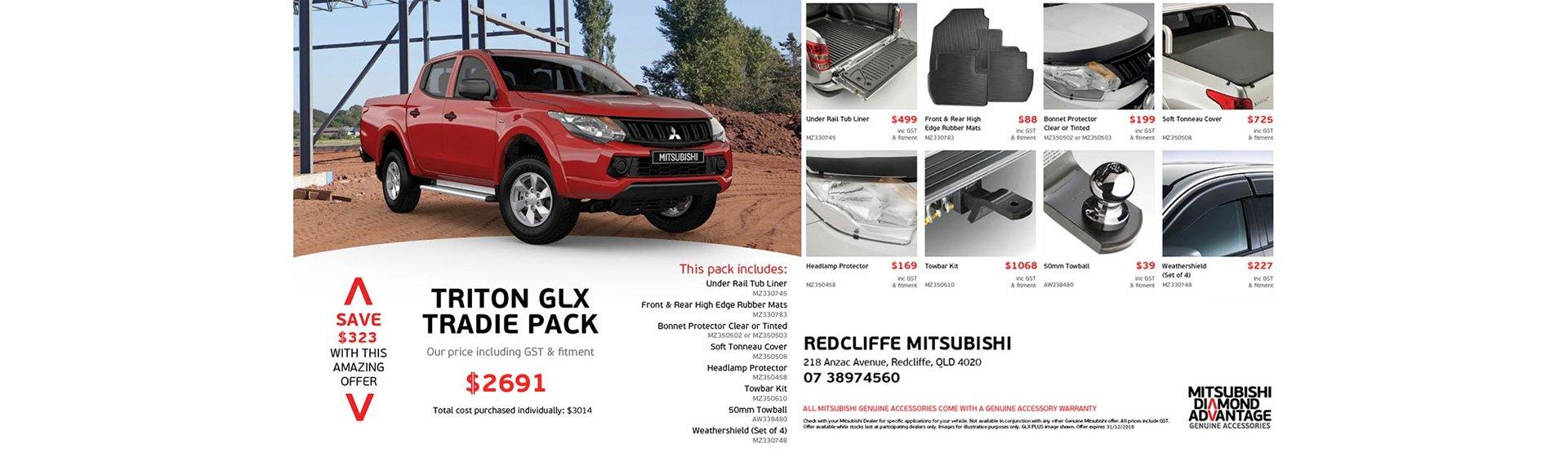 Mitsubishi Triton GLX Tradie Pack, exclusive to Redcliffe Mitsubishi Brisbane.