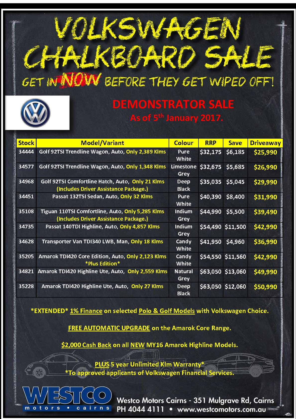 Volkswagen Chalkboard Sale