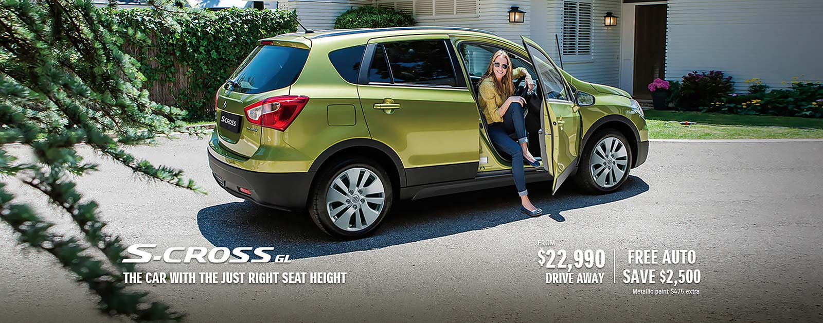 The Suzuki S-Cross GL, the car with just right seat height, from $22,990 driveaway.