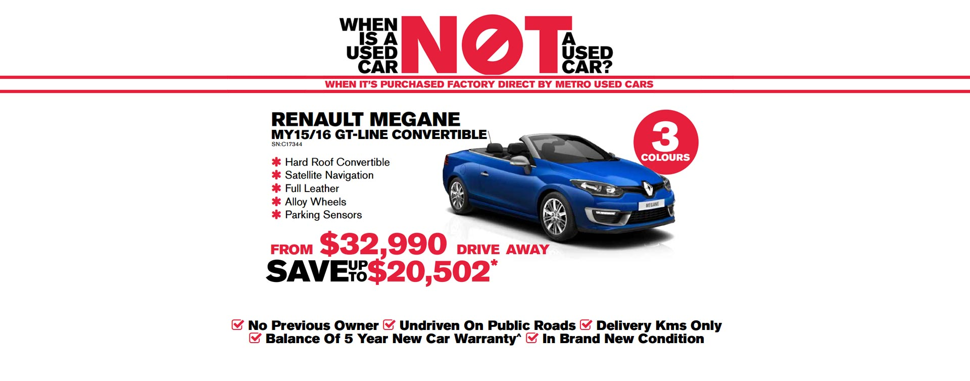 renault Megane MY15/16 GT-Line Convertible from $32,990 drive away, save up to $20,502.
