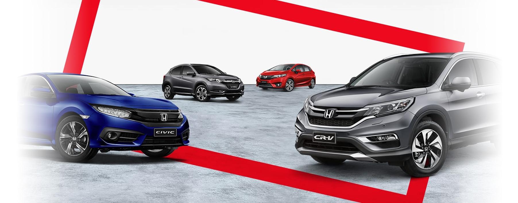 Image showing a Honda Civic sedan, Honda CR-V SUV, Honda HR-V SUV and Honda Jazz hatch.