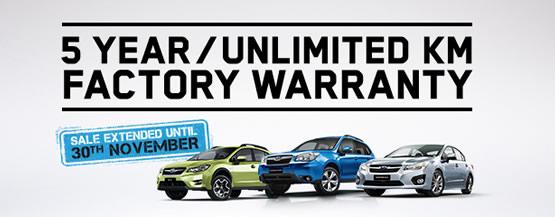 5 Year/Unlimited Km Factory Warranty