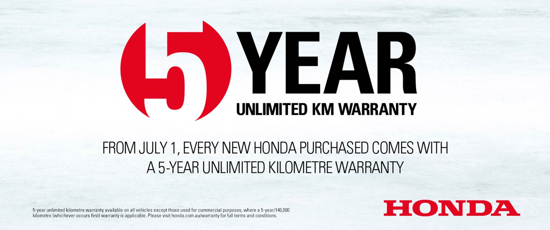 5 Year Unlimited KM warranty