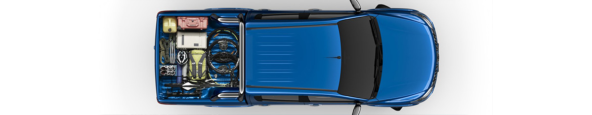Top view of a Mitsubishi Triton Exceed 4x4 dual cab ute in impulse blue.