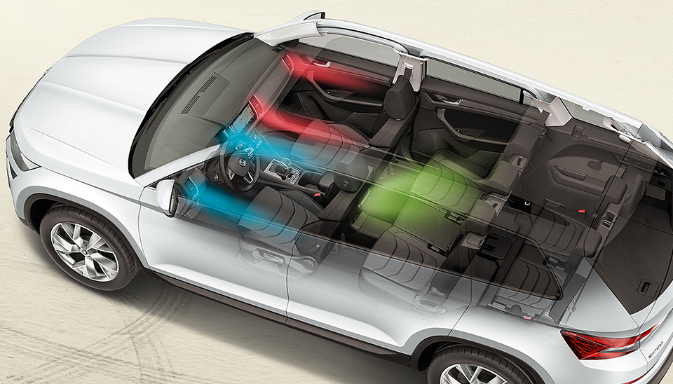 Kodiaq Three-zone air conditioning