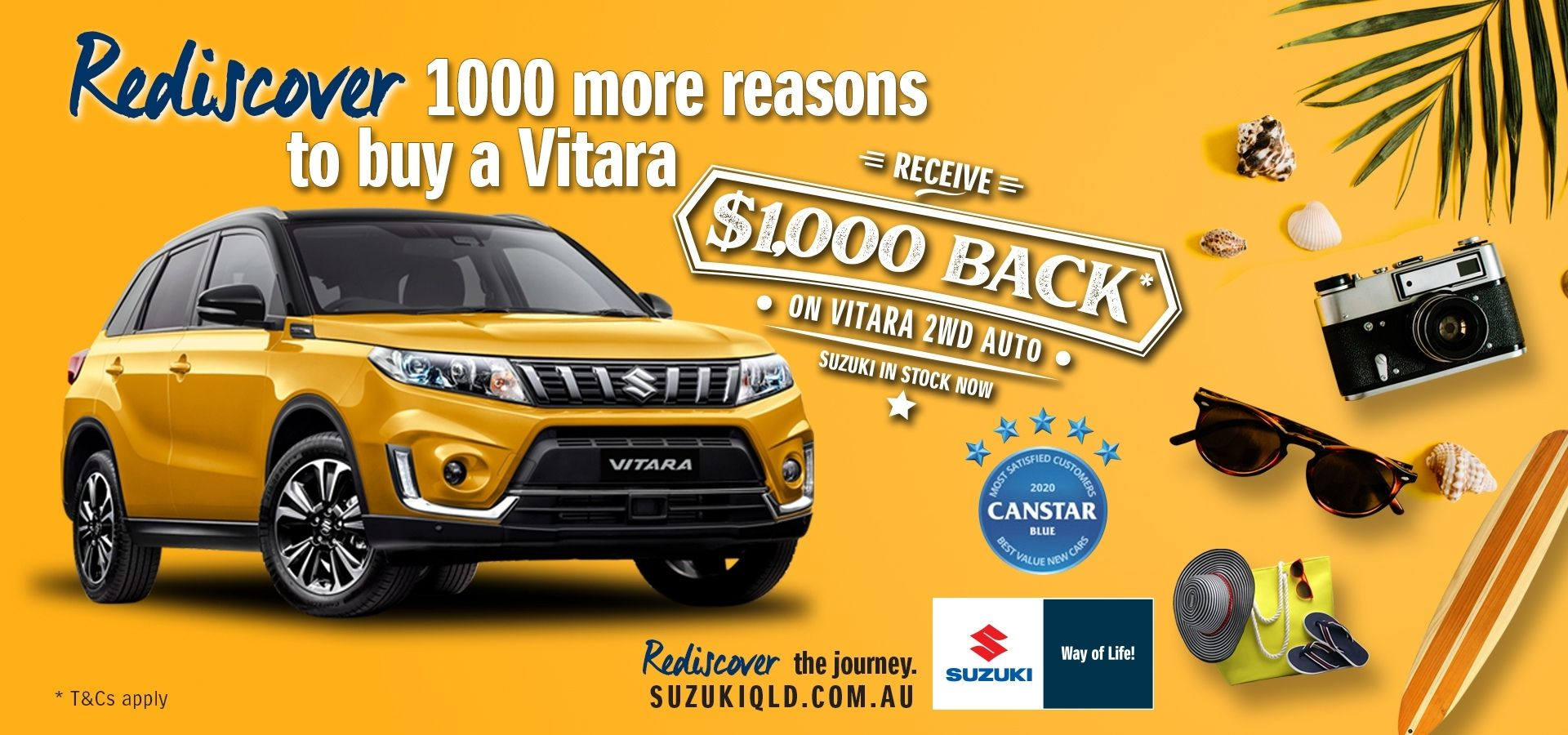 Receive $1,000 back on Vitara 2WD Auto