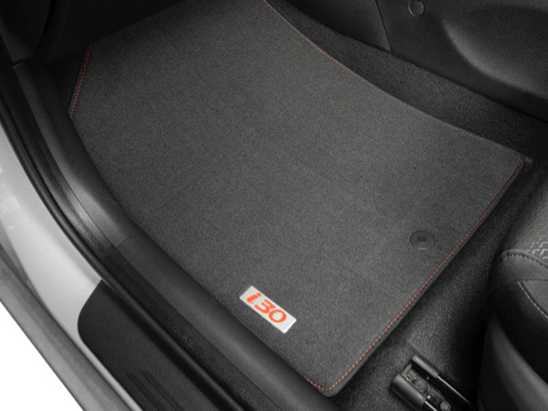 """<img src=""""Tailored carpet floor mats (set of 4) - red stitching and red badge"""