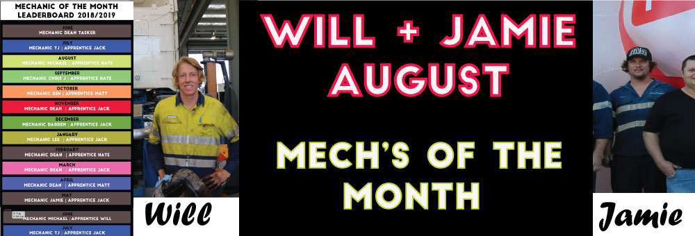MECHANICS OF THE MONTH - AUGUST WINNERS