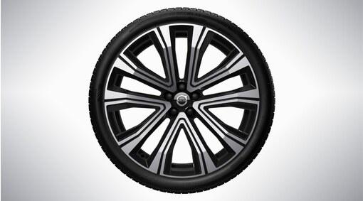 "Complete wheels, 21"" 5-V Spoke Black Diamond Cut"