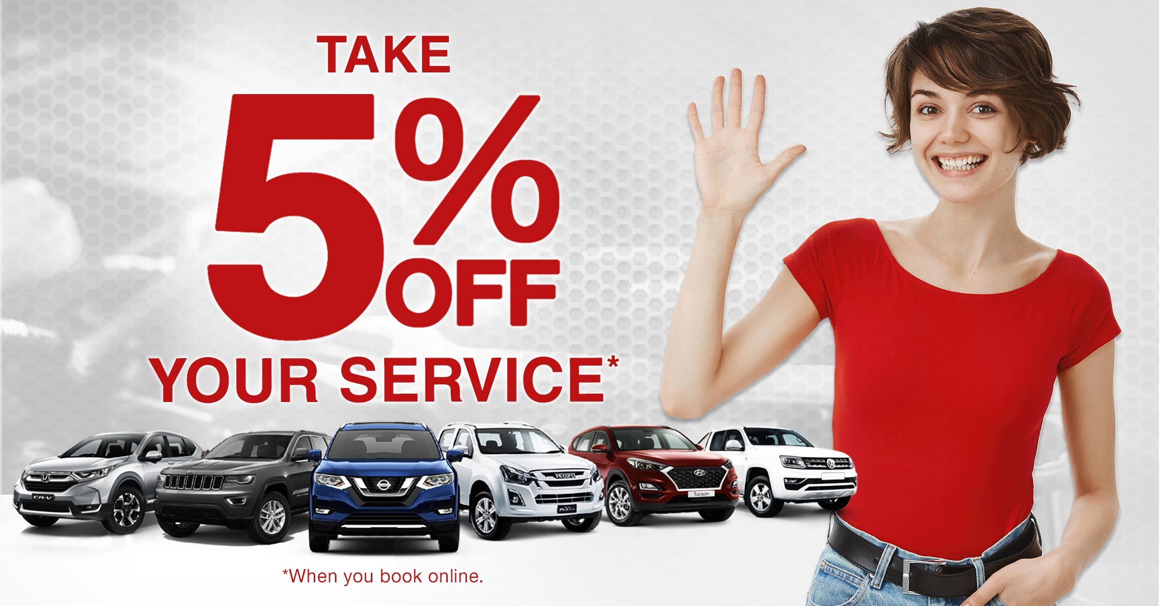 Take 5% off your service when you book online!*
