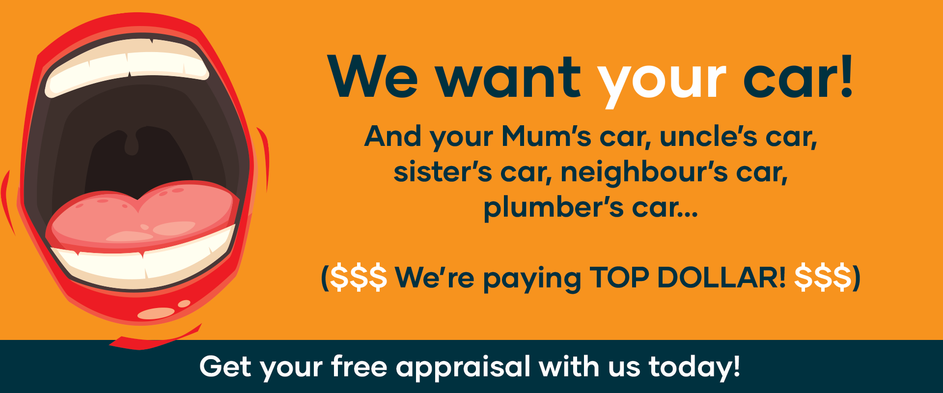 We want to buy your car! Get a free appraisal today.