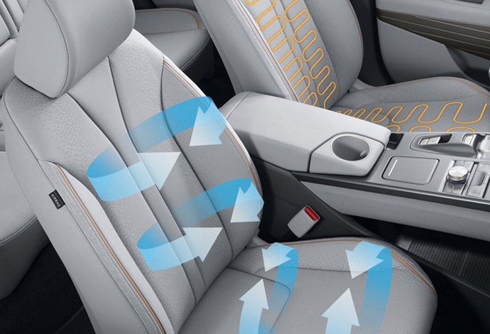 Front ventilated and heated seats. Image