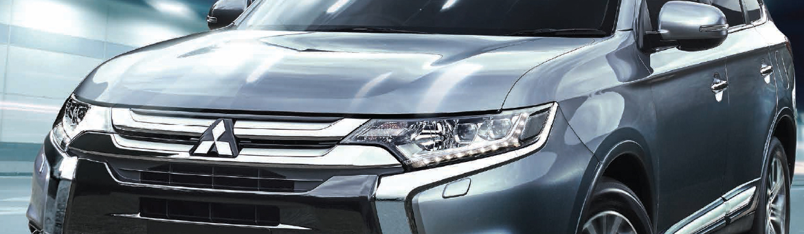 Close up of Mitsubishi Outlander in silver.