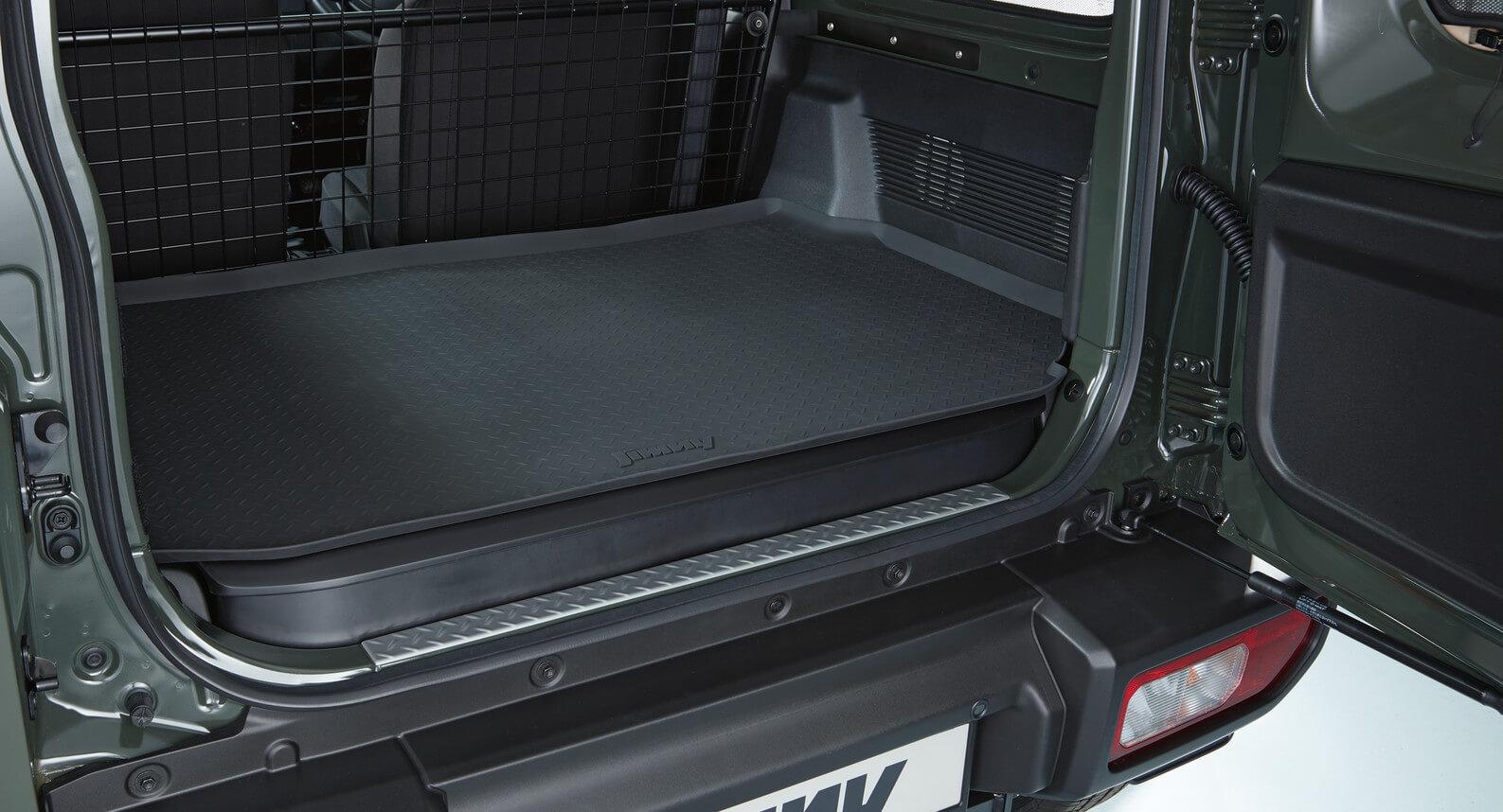 Jimny - Cargo Tray, Rubber With Checkered Plate Design And Jimny Logo
