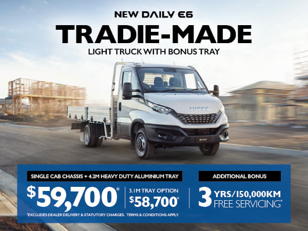 NEW DAILY E6 TRADIE MADE<br>LIGHT TRUCK WITH BONUS TRAY