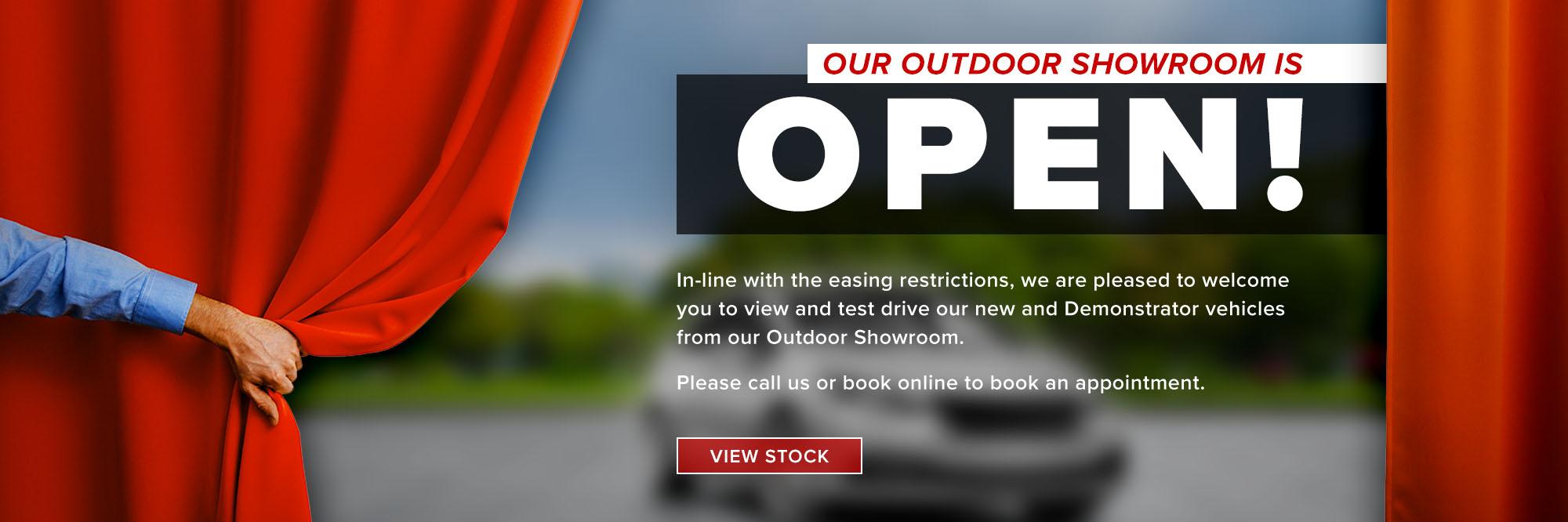 Our outdoor showroom is open. View stock.