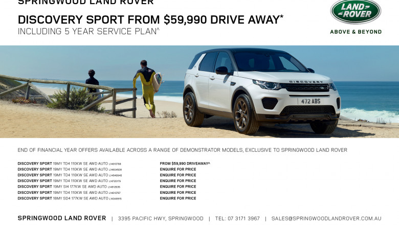 Discovery Sport from $59,990 Drive Away* Including 5 Year Service Plan^