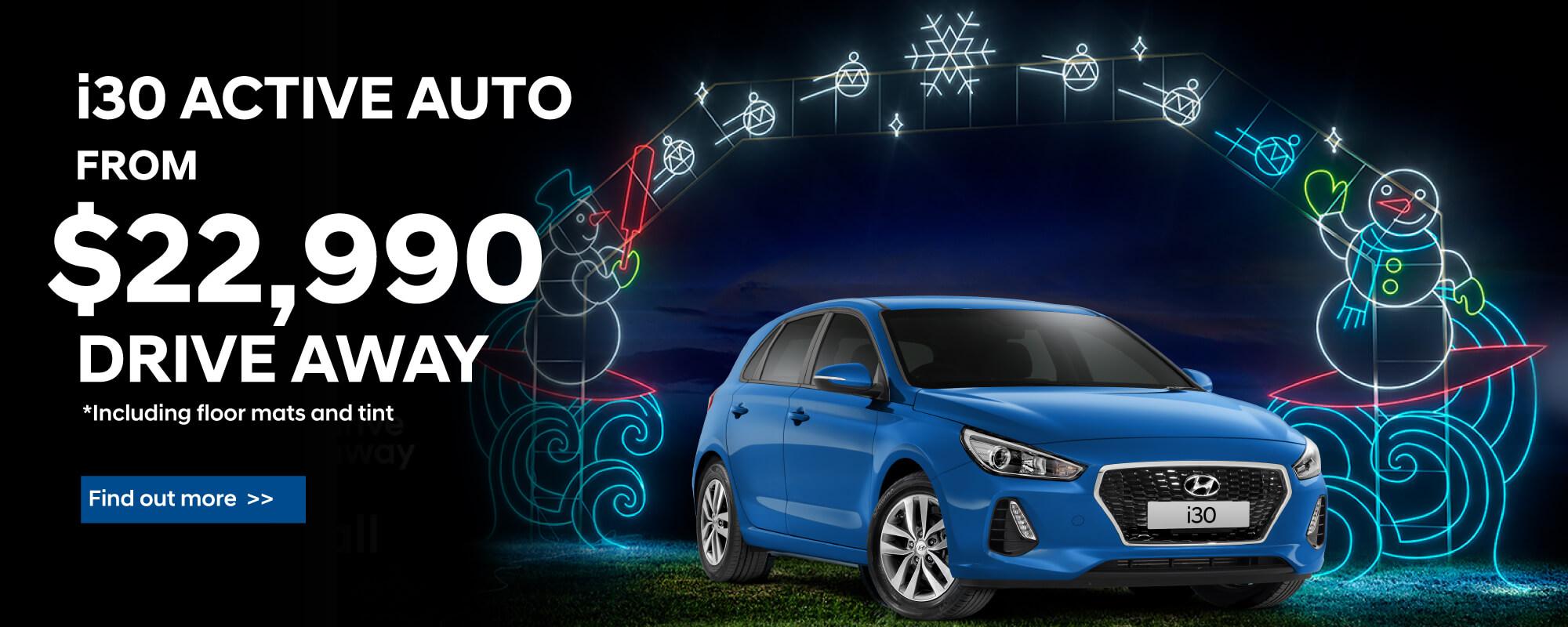 blue hyundai i30 active auto hatch