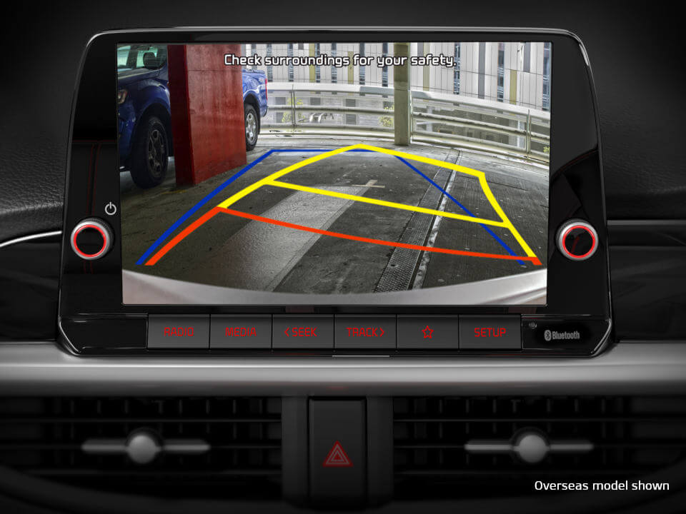 Rear view camera with dynamic parking guidelines
