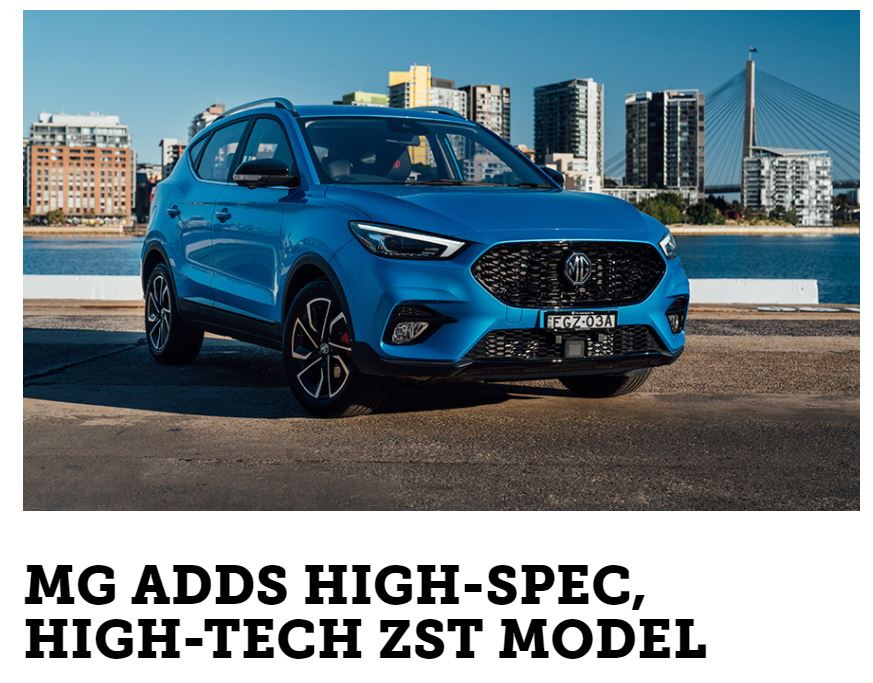 AutoCar: MG adds high-spec, high-tech ZST model
