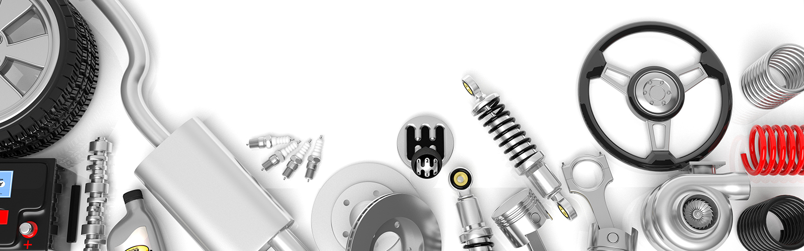 A collage of vehicle spare parts, engine components and accessories.