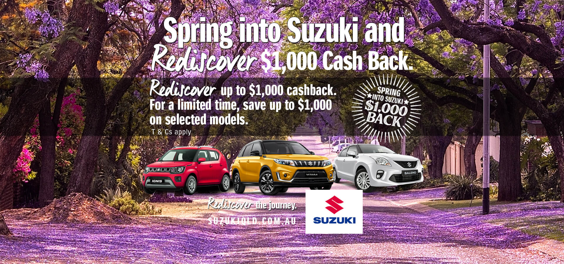 Spring into Suzuki and rediscover $1,000 Cash Back