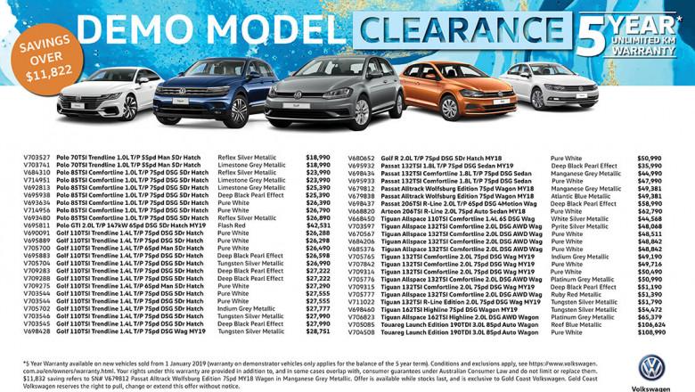Gold Coast VW Demonstrator Clearance