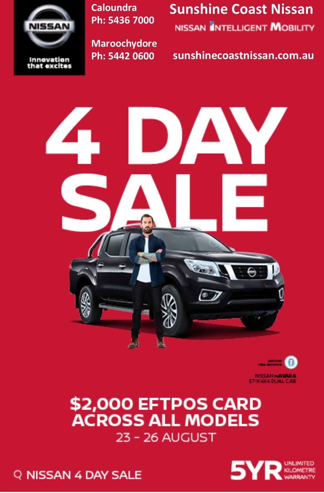 Sunshine Coast Nissan - 4 Day Sale August 23 - 26