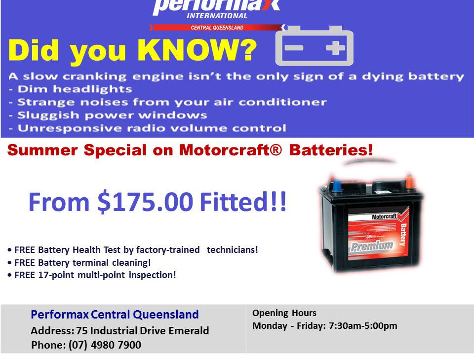 SUMMER BATTERY SPECIAL - BATTERIES FROM $175 FITTED -