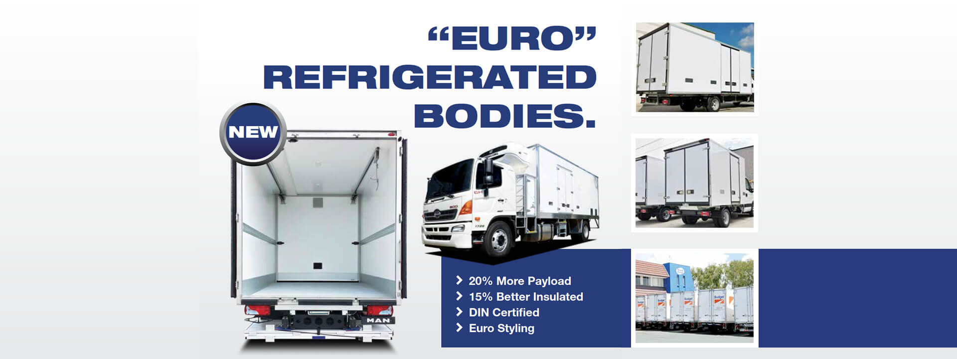 "Truck Corp's new ""Euro"" refrigerated bodies featuring European Design, K Factor and High Payload"