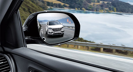Santa Fe Blind Spot Detection (BSD) and Lane Change Assist (LCA).