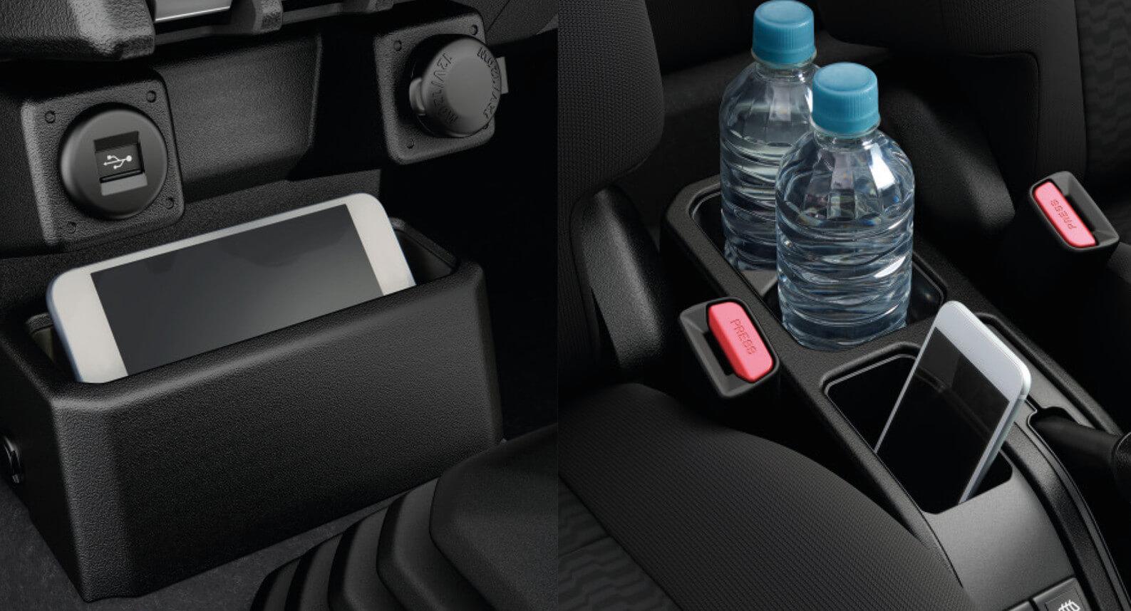 Handy front seat storage