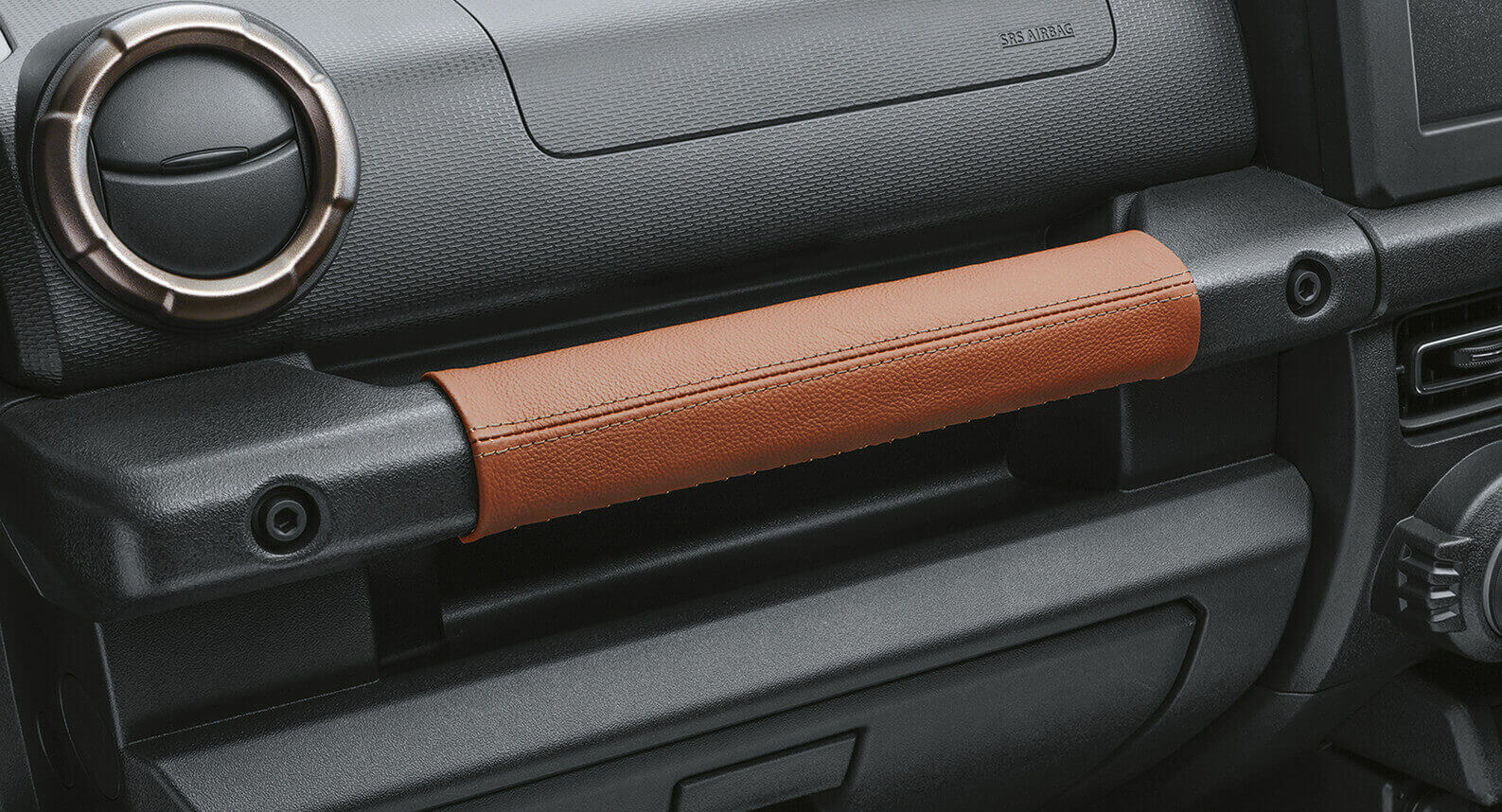 Jimny - Cover, Assistant Grip, Brown With Silver Stitching