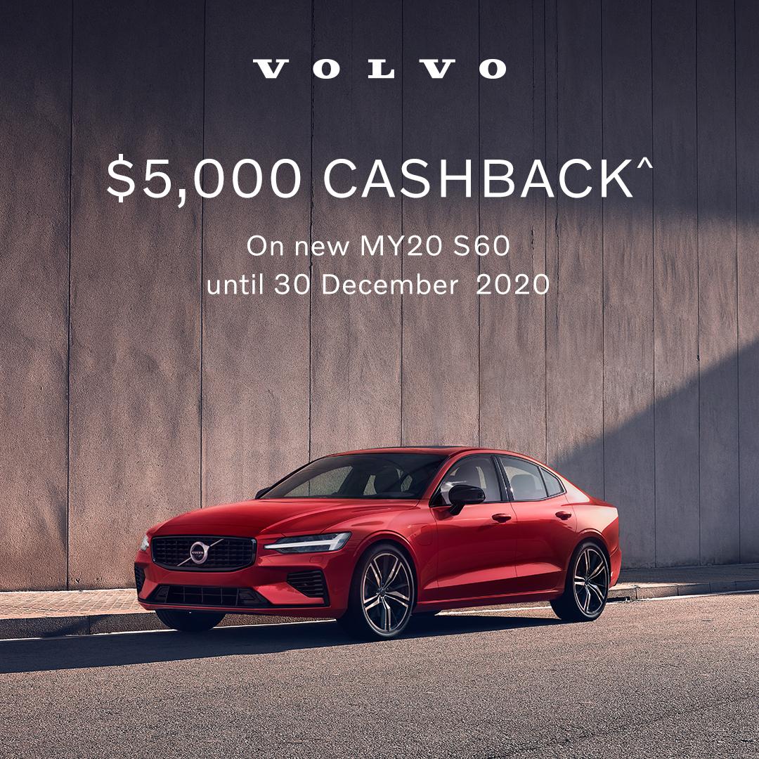 $5,000 CASHBACK^ ON NEW MY20 S60 SPORTS SEDAN