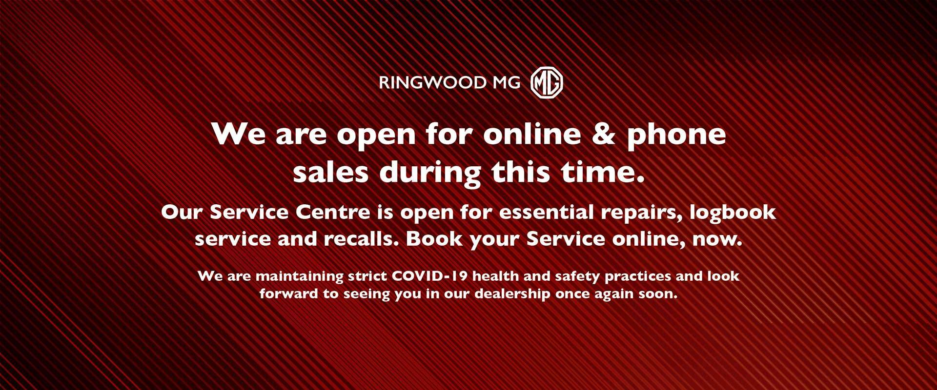 We are open for online and phone sales during this time and our Service Centre is open.