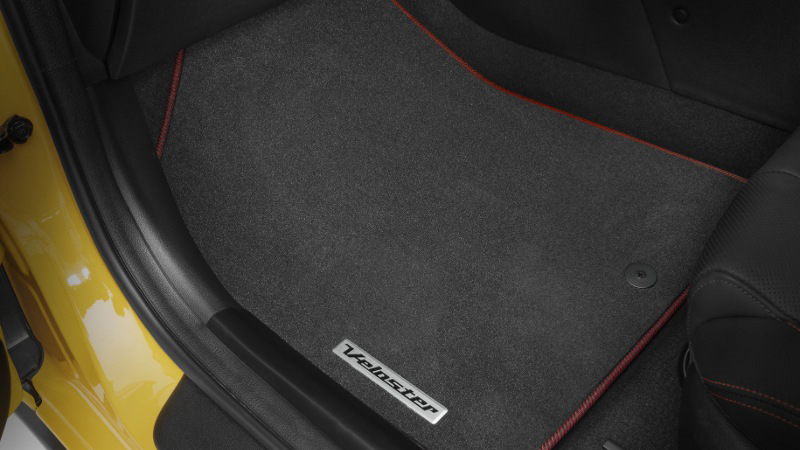 Tailored carpet floor mats - red stitching.