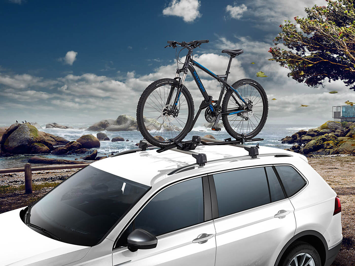 Roof bars and bicycle carrier Transport Image