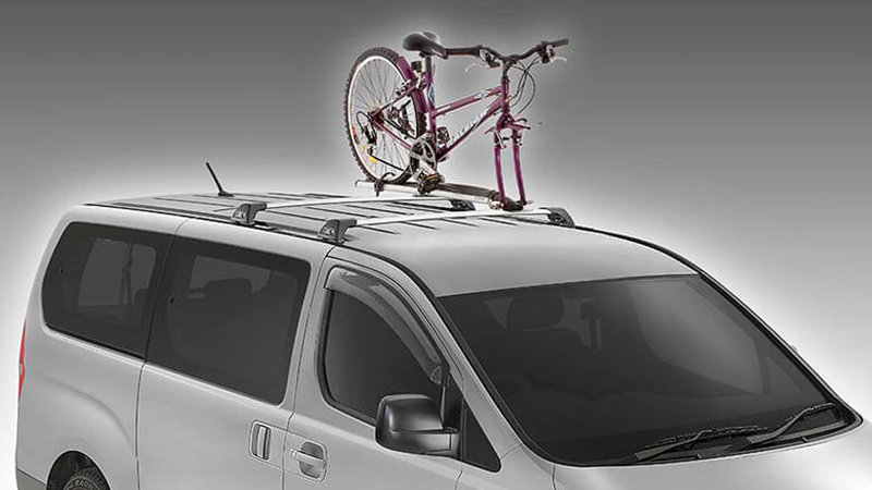 Roof mounted bike carrier.