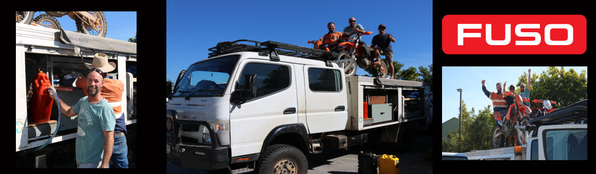 JAMIE AND THE BOYS USE FUSO TOY HAULER TO TAKE THEIR DIRT BIKES TO FINKE