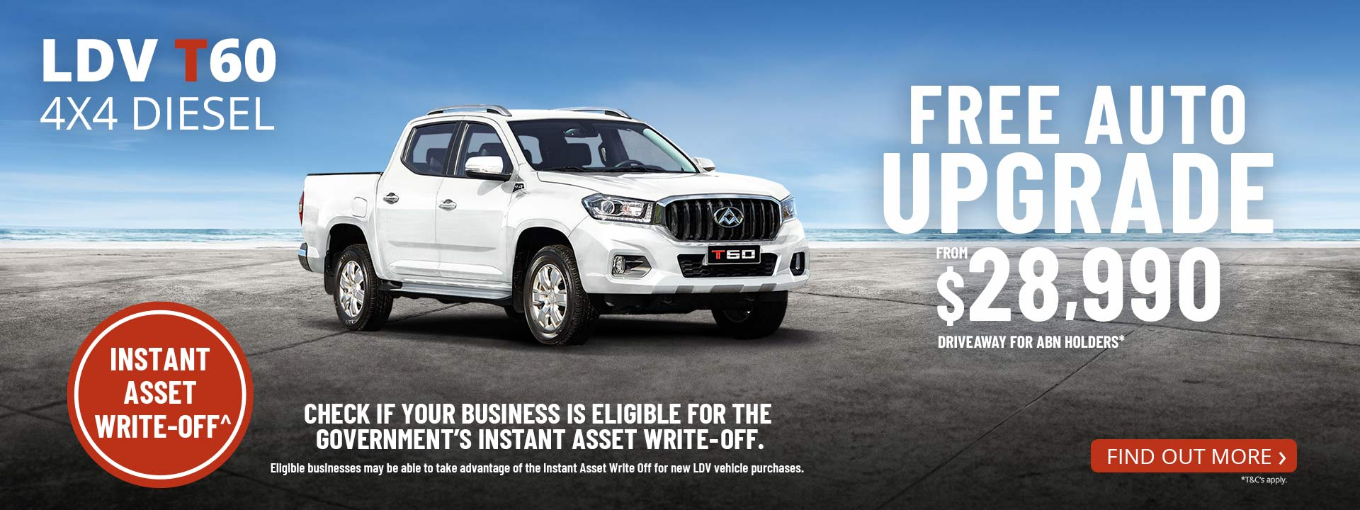 LDV T60 4x4 Diesel - Free Auto Upgrade from $28,990 Driveaway for ABN Holders*