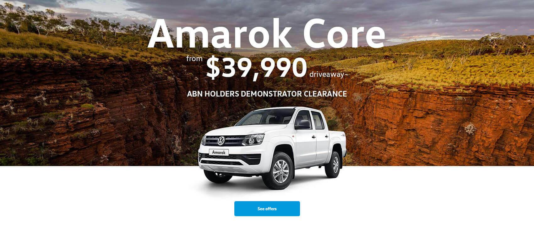 Volkswagen Amarok Core ABN Holders Demonstrator Clearance.